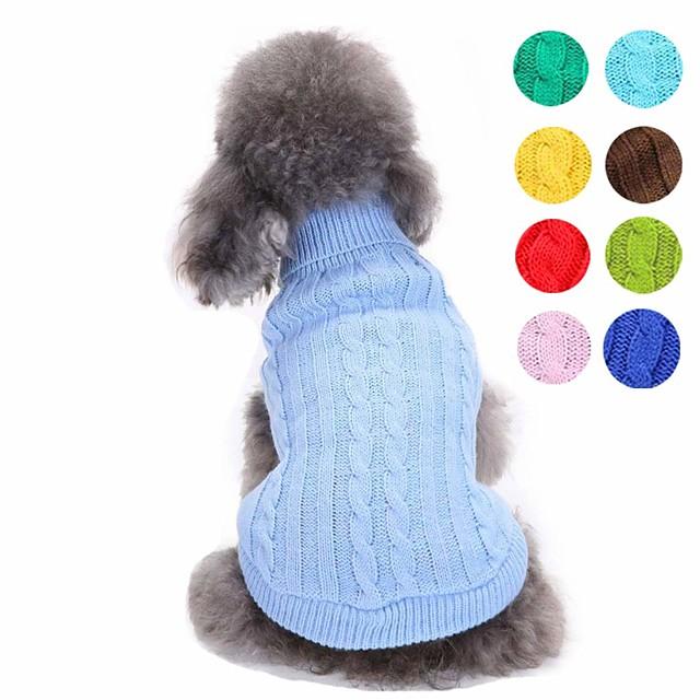 Câini Pulovere Haine pentru catelus Mată stil minimalist Modă Îmbrăcăminte Câini Haine pentru catelus Ținute pentru câini Galben Rosu Verde Deschis Costume pentru fată și câine băiat Fibră Acrilică