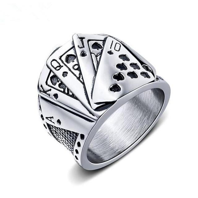 ผู้ชาย วงแหวน ทางเรขาคณิต สีเงิน ทังสเตนเหล็ก Poker แฟชั่น 1pc 7 8 9 10 11 / สำหรับผู้ชาย
