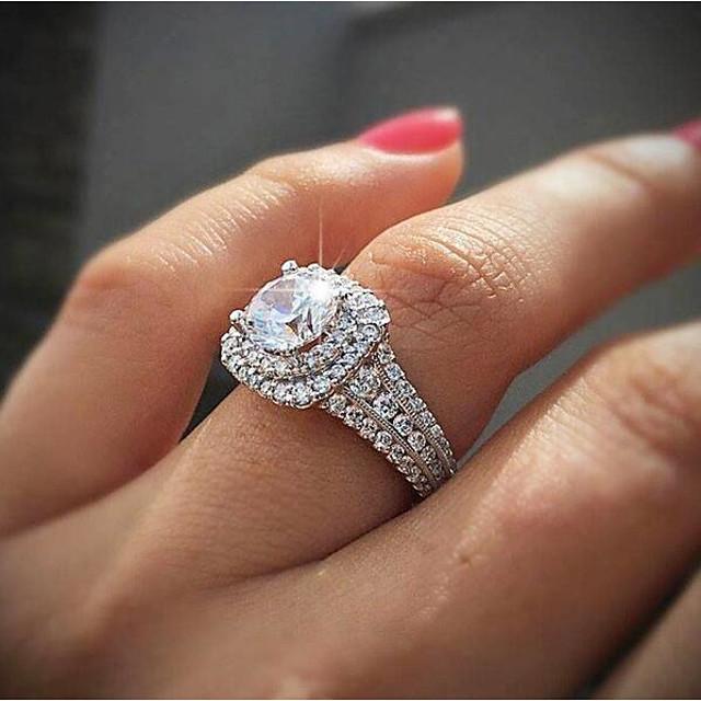 Mujer Anillo Zirconia Cúbica Clásico Blanco Chapado en Oro Boda Gatsby 1pc 6 7 8 9 10 / Diamante sintético
