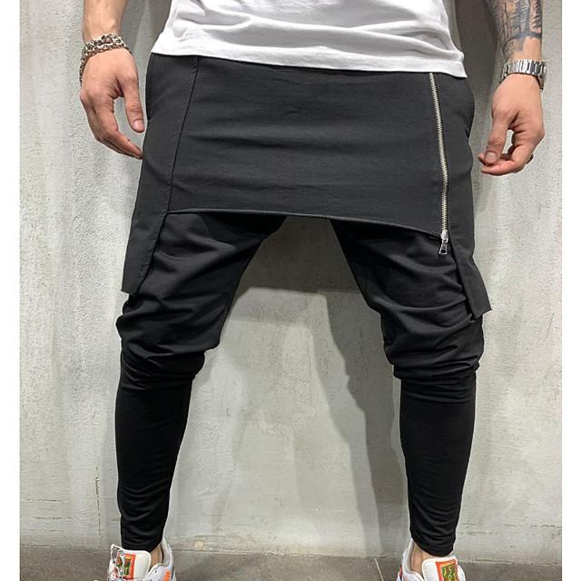 Per uomo Essenziale Cotone Chino Pantaloni Tinta unita Lunghezza intera Multistrato Classico Nero Verde Grigio scuro / Elasticità