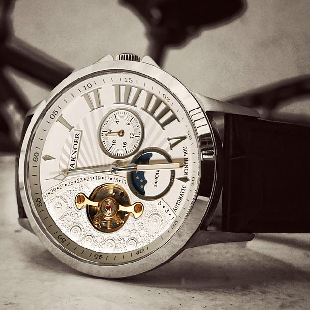 Voor heren mechanische horloges Automatisch opwindmechanisme Formele Stijl Stijlvol Luxe Waterbestendig Analoog Zwart / Goud Zwart / Zilver Wit / Beige / Leer / s Nachts oplichtend