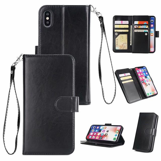 Etui Til Apple iPhone XS / iPhone XR / iPhone XS Max Pung / Kortholder / Flip Fuldt etui Ensfarvet Hårdt ægte læder
