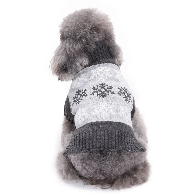 Honden Katten Truien Sneeuwvlok Eenvoudige Stijl Winter Hondenkleding Puppy kleding Hondenoutfits Grijs Koffie Kostuum voor Girl and Boy Dog Polyesteri XS S M L