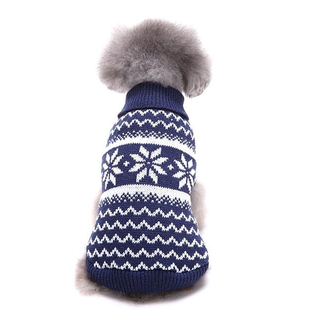 Prodotti per cani Maglioni Vestiti del cucciolo Fiocco di neve Casual Natale Inverno Abbigliamento per cani Vestiti del cucciolo Abiti per cani Rosso Blu Costume per ragazza e ragazzo cane Fibra