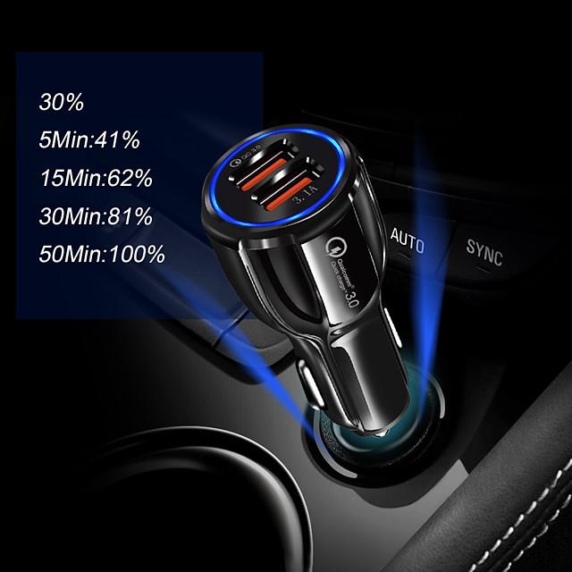 cargador de coche cargador usb universal qc 3.0 2 puertos usb 1 a dc 12v para iphone 11 / iphone 11 pro / iphone 11 pro max