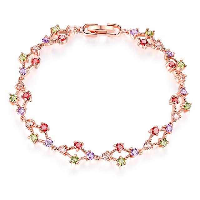 Mulheres Roxo Verde Vermelho Brincos / pulseira Clássico Por sorte Luxo Clássico Estilo bonito Elegante Colorido Cobre Pulseira de jóias Ouro Rose Para Presente Diário Feriado Festival