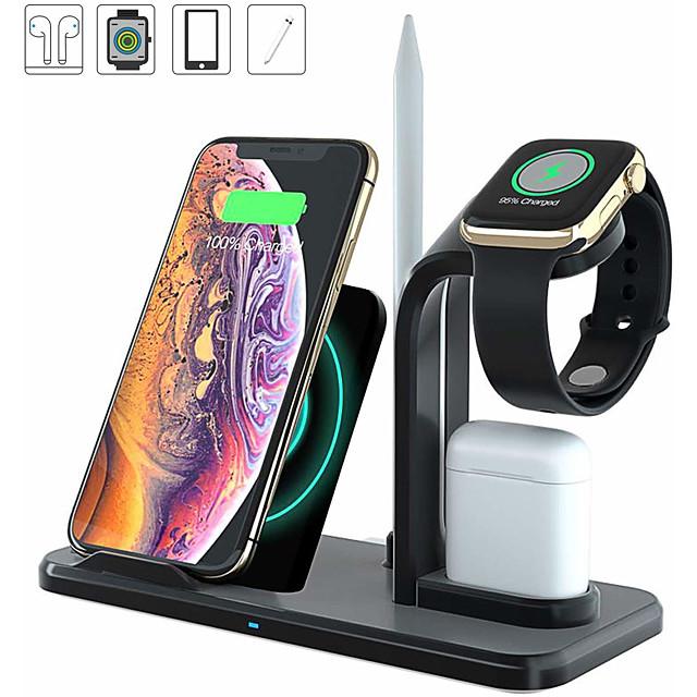 обновить 10 Вт 4-в-1 быстрое беспроводное зарядное устройство док-станция беспроводная подставка для зарядного устройства, совместимая со всеми телефонами Qi Airpods Apple часы для iphone XR XS Макс 8