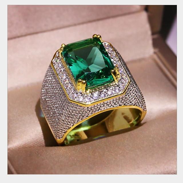 Herren Damen Ring Synthetischer Smaragd Geometrisch Gold Kupfer Stern Modisch 1pc 8 9 1 11 12 / Herrn