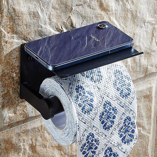 Toilettenpapierhalter mit Regal Aluminiumlegierung kreative moderne Aluminium 1-teilige Wandmontage für Handy-Aufbewahrungsspender Stand