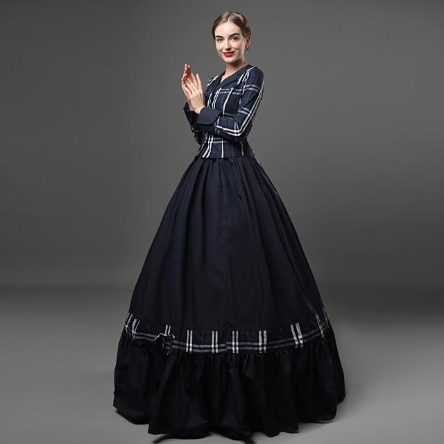 Rokoko Wiktoriańskie 18 wiek sukienka na wakacje Sukienka Stroje Damskie Bawełna Kostium Niebieski Postarzane Cosplay Impreza Studniówka Długi rękaw Sięgająca podłoża Długa Balowa Puszysta Dostosowane