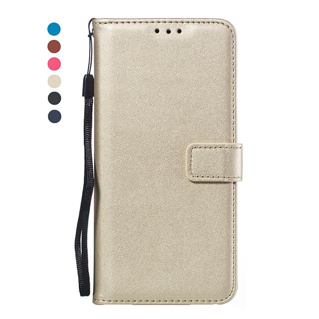 Кейс для Назначение SSamsung Galaxy A5(2018) / A6 (2018) / Galaxy A7(2018) Кошелек / Бумажник для карт / Флип Чехол Однотонный Кожа PU / ТПУ