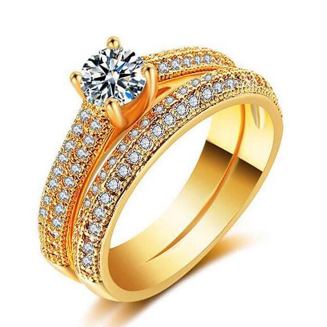 Inel Geometric Roz auriu Auriu Argintiu Zirconiu Articole de ceramică Placat Auriu Prețios Modă 1set 7 8 9 / Pentru femei