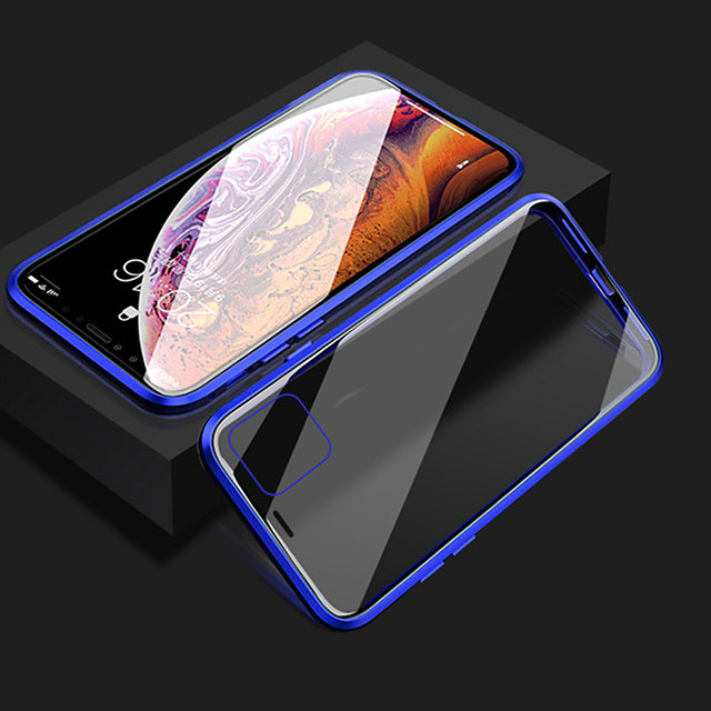 magnetische telefoonhoes voor iphone 11 iphone xr transparante telefoonhoes 360 bescherming dubbelzijdig glas metalen schokbestendige beschermhoes voor 11 promax se2020 xs max x iphone 8 7 plus