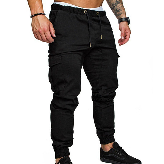 Men's Joggers Basic Chinos Pants  Streetwear Sweatpants Solid Colored Full Length  Trousers Black Army Green Khaki Light gray Dark Gray