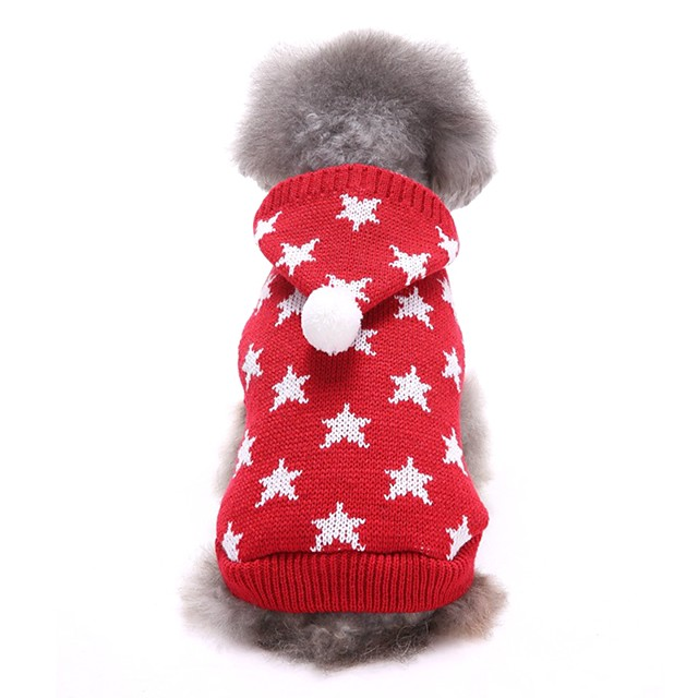 Собаки Свитера Одежда для щенков Звезды На каждый день Зима Одежда для собак Одежда для щенков Одежда Для Собак Красный Синий Костюм для девочки и мальчика-собаки Акриловые волокна XS S M L XL XXL