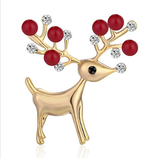 نسائي مكعب زركونيا دبابيس هندسي أيل أنيق بروش مجوهرات ذهبي أبيض من أجل عيد الميلاد مهرجان