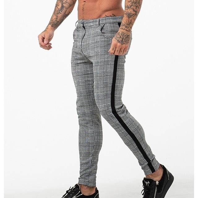 Per uomo Alla moda Pantaloni Essenziale Cotone Taglia piccola Formale Da tutti i giorni Casual Chino Pantaloni Scozzese a quadri Lunghezza intera Formale Bianco Nero