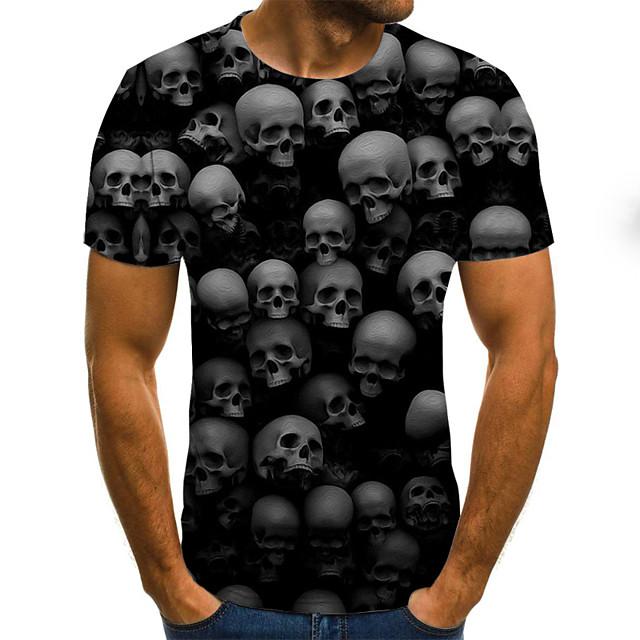 Per uomo maglietta Pop art Fantasia geometrica 3D Teschi Taglie forti A pieghe Con stampe Manica corta Quotidiano Top Moda città Esagerato Rotonda Nero / Estate