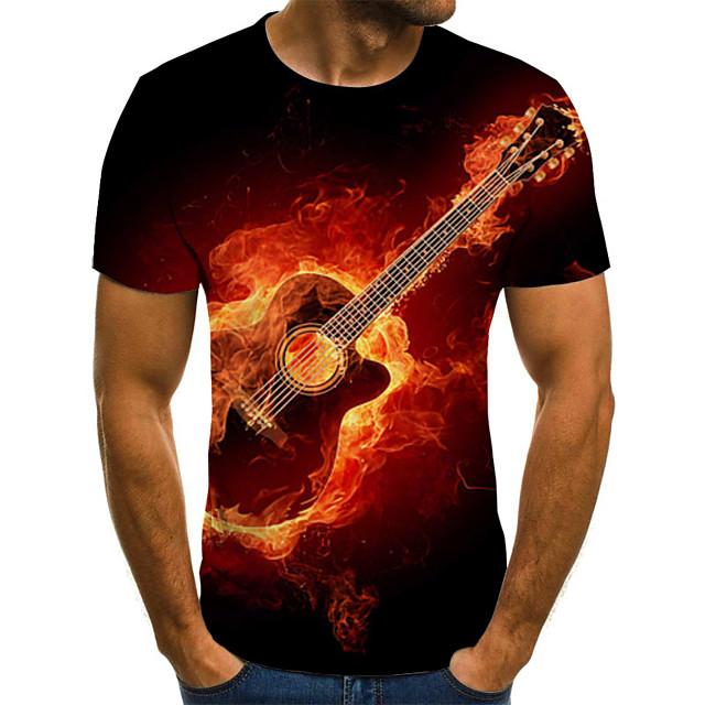 Per uomo maglietta Pop art Fiamma Taglie forti A pieghe Con stampe Manica corta Quotidiano Top Moda città Esagerato Rosso