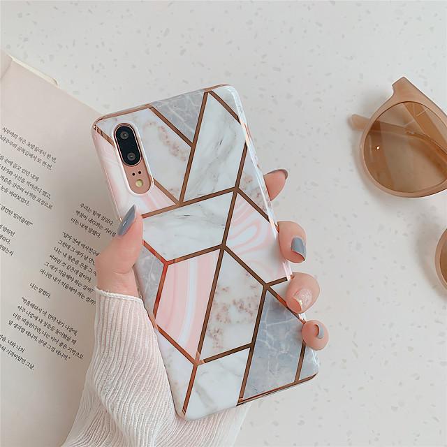 ケース 用途 Huawei Huawei P20 / Huawei P20 Pro / Huawei P20 lite メッキ仕上げ / IMD / パターン バックカバー 幾何学模様 / マーブル TPU