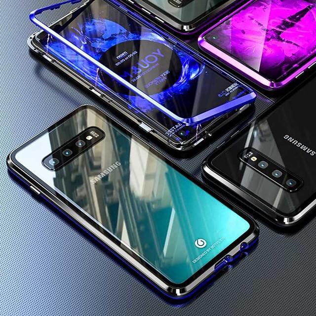 전화 케이스 제품 삼성 갤럭시 전체 바디 케이스 자기 흡착 케이스 Galaxy S9 S9 플러스 S8 플러스 S8 참고 9 참고 8 S10 S10 + Galaxy A9 (2018) Galaxy S10 E 방진 거울 울트라 씬 투명 강화 유리 메탈