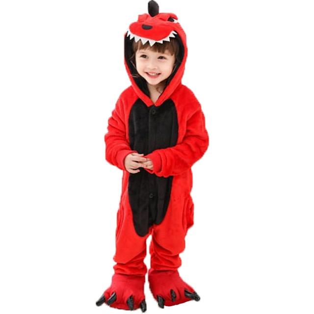Camouflage Pyjamas Kigurumi Tenues de nuit Dinosaure Combinaison de Pyjamas Molleton Rouge Cosplay Pour Garçons et filles Pyjamas Animale Dessin animé Fête / Célébration Les costumes