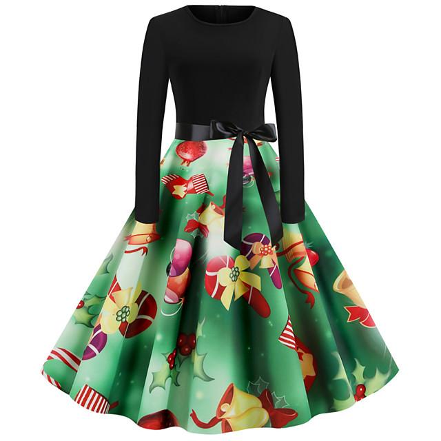 여성용 스윙 드레스 클로버 긴 소매 산타 클로스 기하학 패치 워크 프린트 라운드 넥 베이직 빈티지 크리스마스 S M L XL XXL