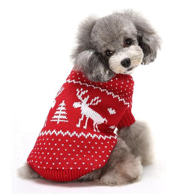 Σκυλιά Πουλόβερ Ρούχα κουταβιών Τάρανδος Καθημερινά Χριστούγεννα Χειμώνας Ρούχα για σκύλους Ρούχα κουταβιών Στολές για σκύλους Κόκκινο Μπλε Στολές για κορίτσι και αγόρι σκυλί Ακρυλικές Ίνες XS Τ M L