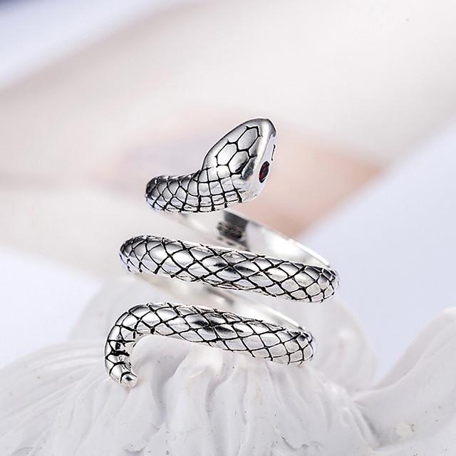 الملك كوبرا عصابة للتعديل سبائك النحاس المواد 30 ٪ الفضة مطعمة الأحمر الزركون خواتم الأزياء العصرية النساء المجوهرات هدية عيد
