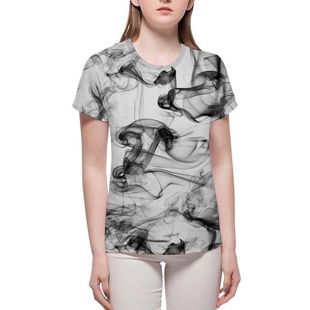 여성용 T 셔츠 그래픽 기하학 3D 프린트 짧은 소매 일상 탑스 베이직 과장된 그레이