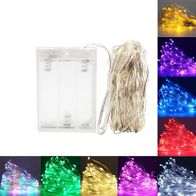5m Ευέλικτες LED Φωτολωρίδες Φώτα σε Κορδόνι 50 LEDs SMD 0603 1pc Θερμό Λευκό Άσπρο Κόκκινο Χριστούγεννα Πρωτοχρονιά Αδιάβροχη Πάρτι Διακοσμητικό Μπαταρίες AA Powered