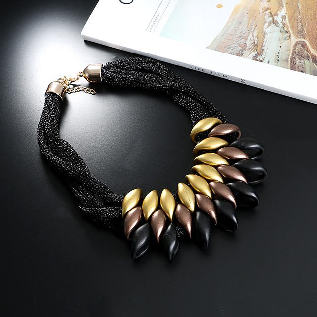 Per donna Collana di dichiarazione Importante Donne Grosso Resina Ciniglia Argento Oro Arcobaleno Nero Collana Gioielli 1 Per Casuale Appuntamento