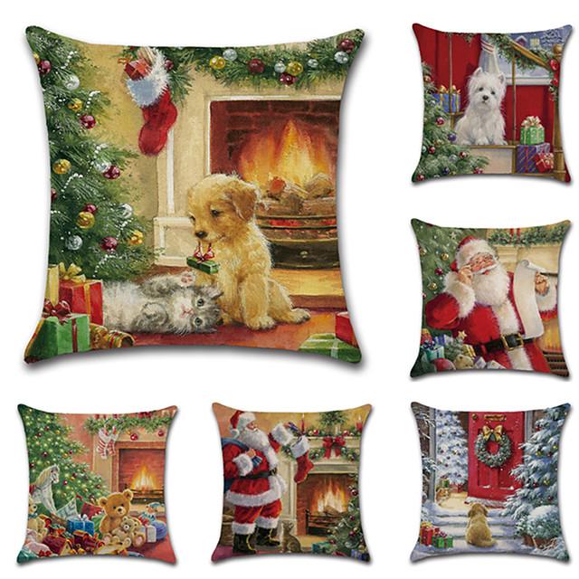 6 PC 리넨 베개 덮개, 휴일 만화 전통적인 크리스마스 방석