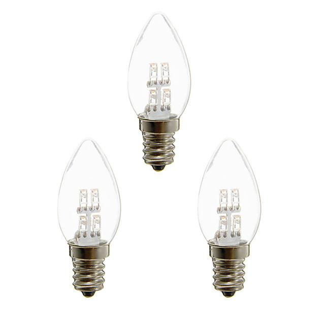 3 Stück 1 W LED Kerzen-Glühbirnen 20 lm E12 4 LED-Perlen Dip - Leuchtdiode Dekorativ Warmes Weiß Weiß 100-240 V