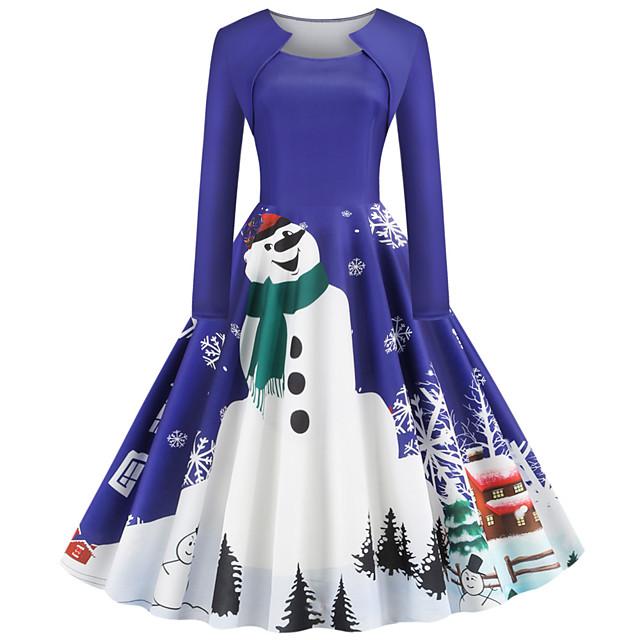 여성용 스윙 드레스 푸른 퍼플 루비 클로버 긴 소매 산타 클로스 기하학 프린트 크루넥 베이직 빈티지 크리스마스 S M L XL XXL