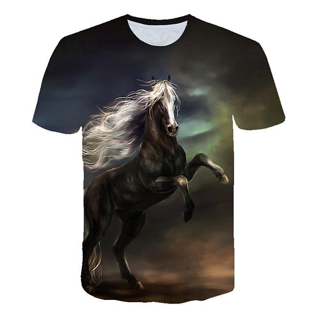 남성용 T 셔츠 그래픽 컬러 블럭 3D 동물 프린트 짧은 소매 데이트 탑스 스트리트 쉬크 펑크 & 고딕 네이비 블루
