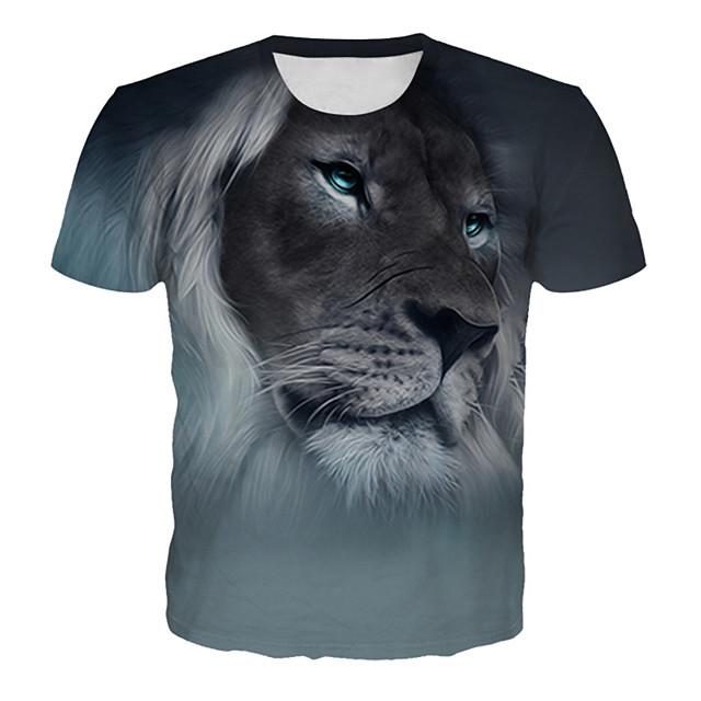 남성용 T 셔츠 그래픽 3D 동물 플러스 사이즈 프린트 짧은 소매 일상 탑스 베이직 과장된 그레이