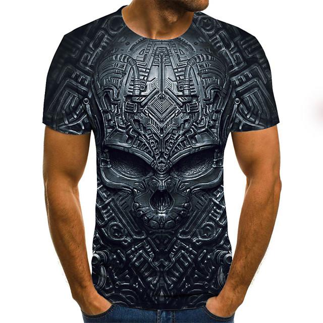 Per uomo Pop art 3D Teschi Taglie forti maglietta Con stampe Manica corta Quotidiano Top Moda città Esagerato Rotonda Nero Blu Viola