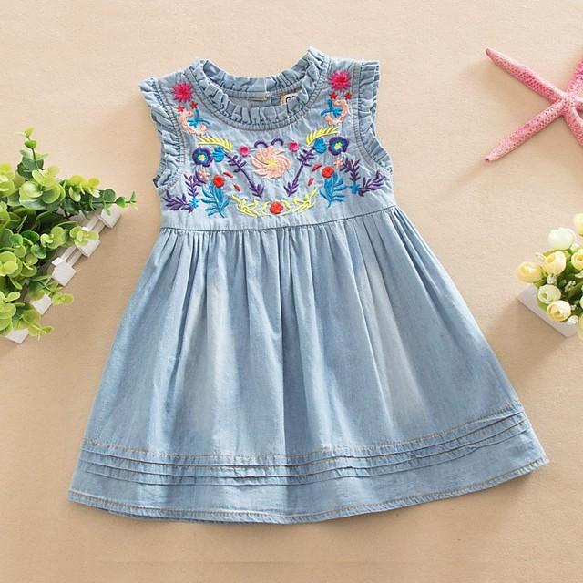 Kids Toddler Little Girls' Dress Floral Pleated Mesh Blue Knee-length Sleeveless Cute Sweet Dresses Children's Day Regular Fit