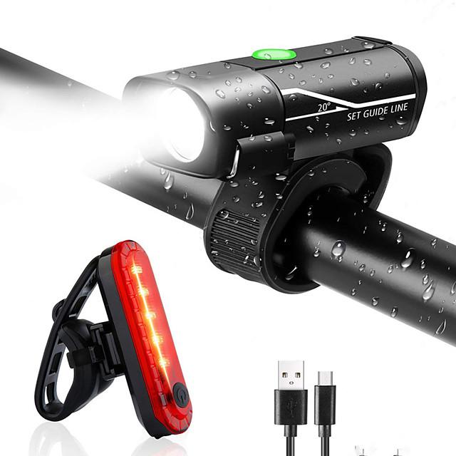 LED Eclairage de Velo Ensemble d'éclairage de vélo rechargeable Eclairage de Vélo Arrière Eclairage sécurité / feu clignotant velo XP-G2 VTT Vélo tout terrain Vélo Cyclisme Imperméable Modes