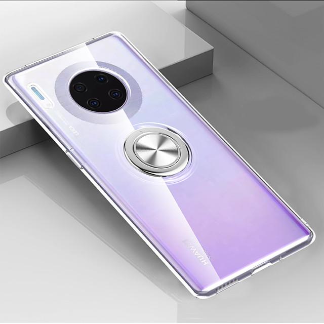 Etui Til Huawei Huawei P20 / Huawei P20 Pro / Huawei P20 lite Ringholder / Ultratynn / Gjennomsiktig Bakdeksel Gjennomsiktig / Ensfarget PU Leather