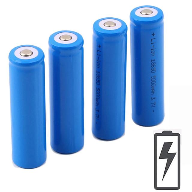 Li-ion 18650 baterie 5000 mAh 4 buc 3.7 V Reîncărcabil Portabil pentru Lanternă Bike Light Lămpi de cap Camping & Drumeții Vânătoare Pescuit