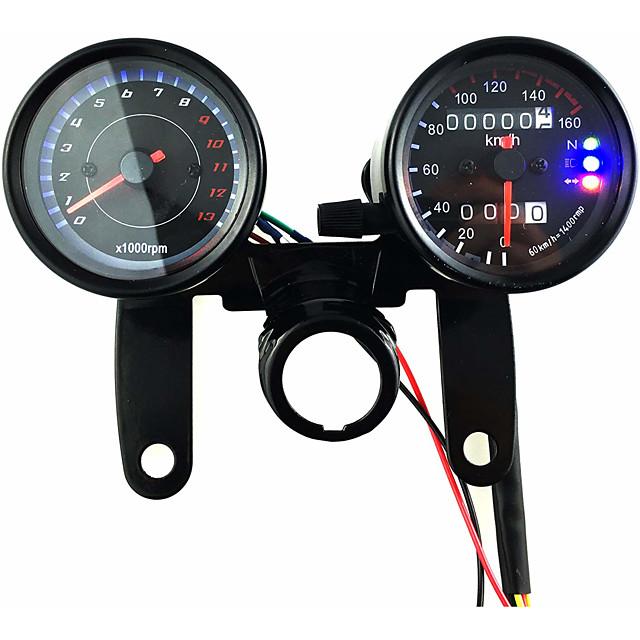 12 v motocicleta scooter preto led odômetro velocímetro medidor e 13000 rpm tacômetro com suporte