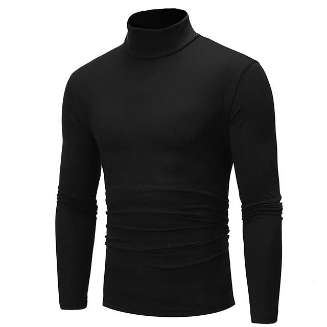 Herre Ensfarvet Pullover Langærmet Normal Sweater Cardigans Rullekrave Efterår Vinter Hvid Sort Marineblå