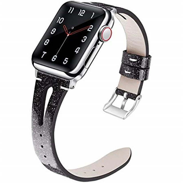 Кожаный ремешок, совместимый для Apple Watch Band 40 мм 38 мм 44 мм 42 мм тонкий элегантный ремешок женщины сменные полосы для серии iwatch 5 серии 4/3/2/1 модный женский дышащий дизайн щели