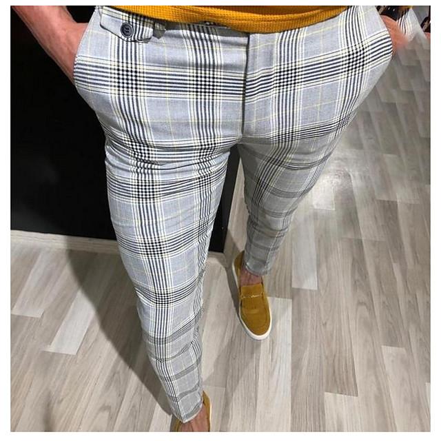 Homme basique pantalon de costume Pantalon Rayé Toute la longueur Rouge Jaune Gris