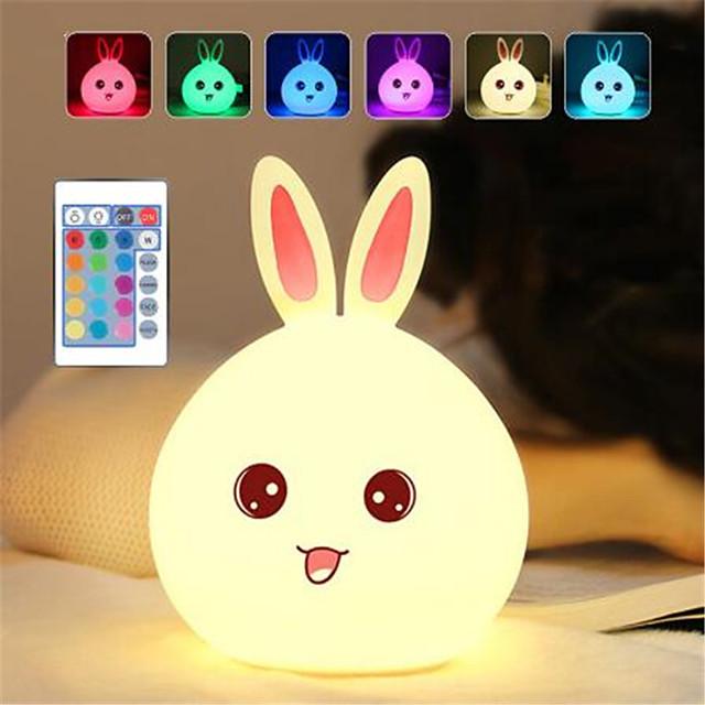 lapin de dessin animé dozzlor led nuit lumière capteur tactile à distance coloré usb silicone lapin lampe de chevet pour enfants enfants bébé
