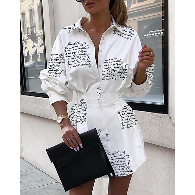 Pentru femei Rochie A line Alb Manșon Lung Scrisă Guler Cămașă Elegant S M L XL