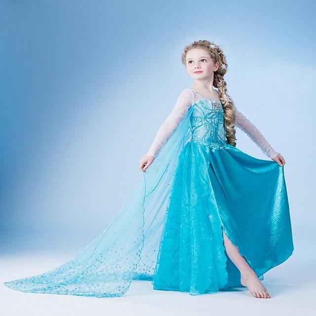 아동 작은 여아 드레스 솔리드 눈송이 꽃장식 파티 생일 Pegeant 밝은 블루 코스프레 프린세스 드레스 부활절