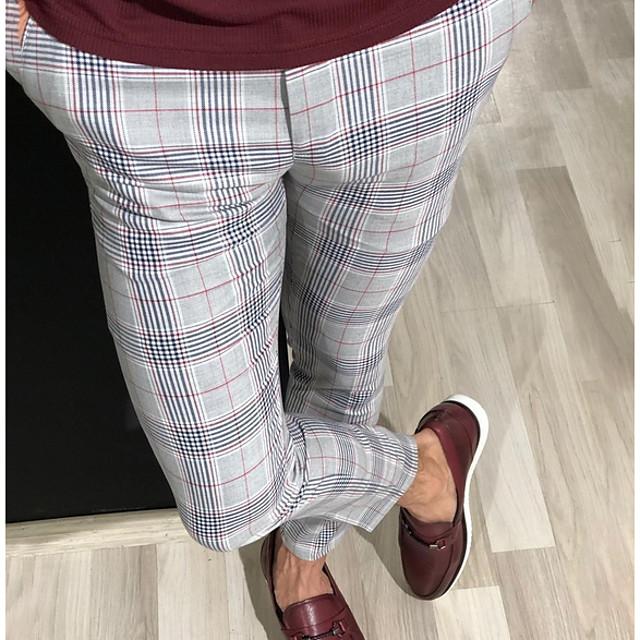 Per uomo Moda città Taglia piccola Chino Pantaloni Scozzese a quadri Lunghezza intera Rosso Giallo Grigio
